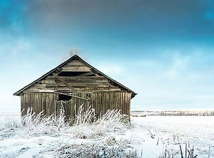 Barn and the frosty fields in the Northe