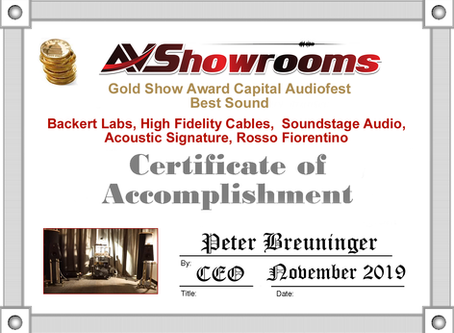 Capital Audio Fest 2019: AVShowrooms  Best Sound Award