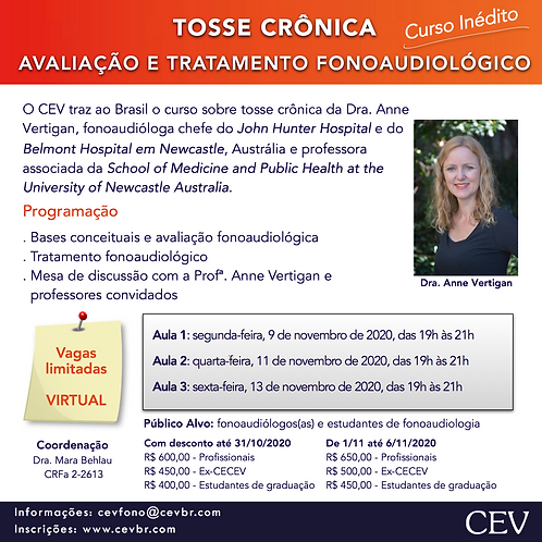 TOSSE CRÔNICA: AVALIAÇÃO E TRATAMENTO FONOAUDIOLÓGICO