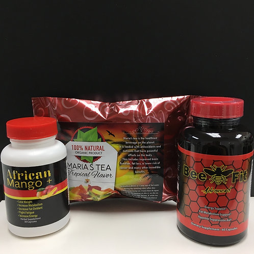 african mango, bee fit, & marias tea tropical