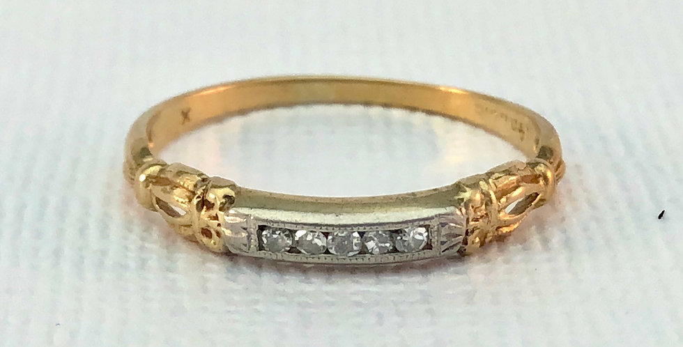 Antique Yellow Gold Platinum Topped Diamond Band