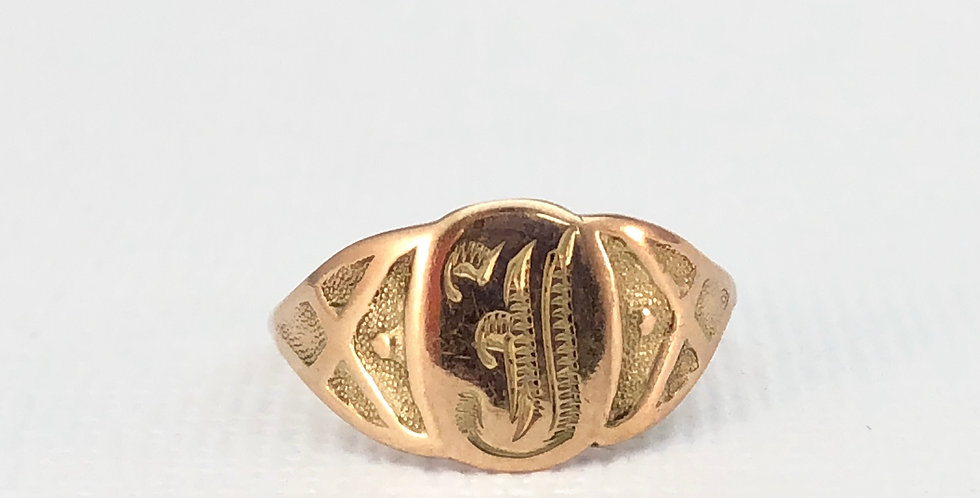 """Antique Gold """"J"""" Signet Ring"""
