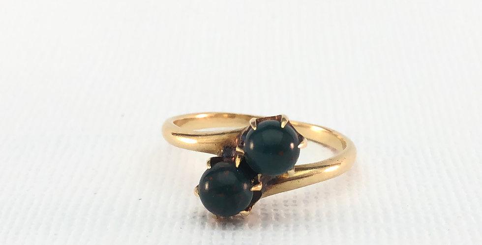 Antique Toi et Moi Bloodstone Ring