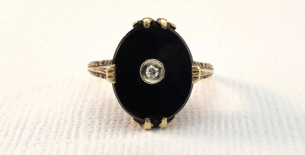 Antique Onyx & Single Cut Diamond Ring