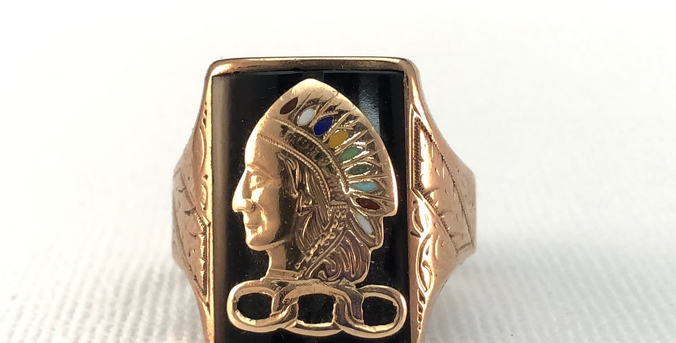 Antique Rose Gold Gentleman's Indian Head Ring