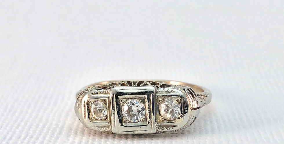 Antique White Gold Filigree Three Stone Ring