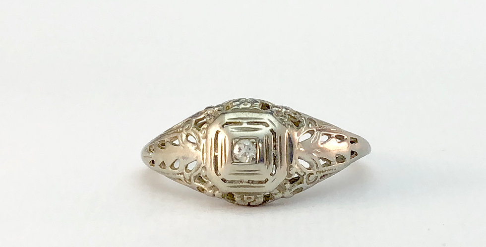 Antique White Gold Filigree Solitaire