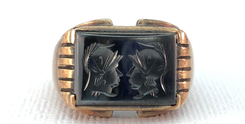 Vintage Gentleman's Hematite Intaglio Ring