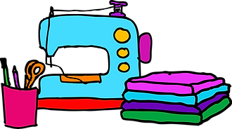 colorful drawing of sewing machine and sewing supplies