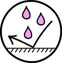 circular icon with drops being repelled from surface