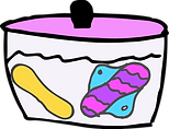 cloth pads soaking in container with water
