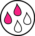 circular icon with two dark pink drops an two white drops