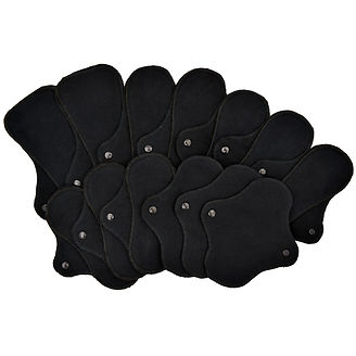 Reusable menstrual cloth pad starter set in black