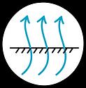 circular icon with wavy arrows pointing upwards