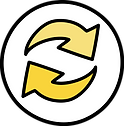 circular icon with two yellow arrows in circular motion