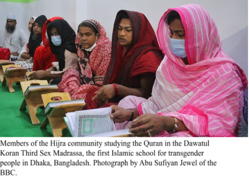 Members of the Hijra community studying the Quran in the Dawatul Koran Third Sex Madrassa, the first Islamic school for transgender people in Dhaka, Bangladesh. Photograph by Abu Sufiyan Jewel of the BBC.
