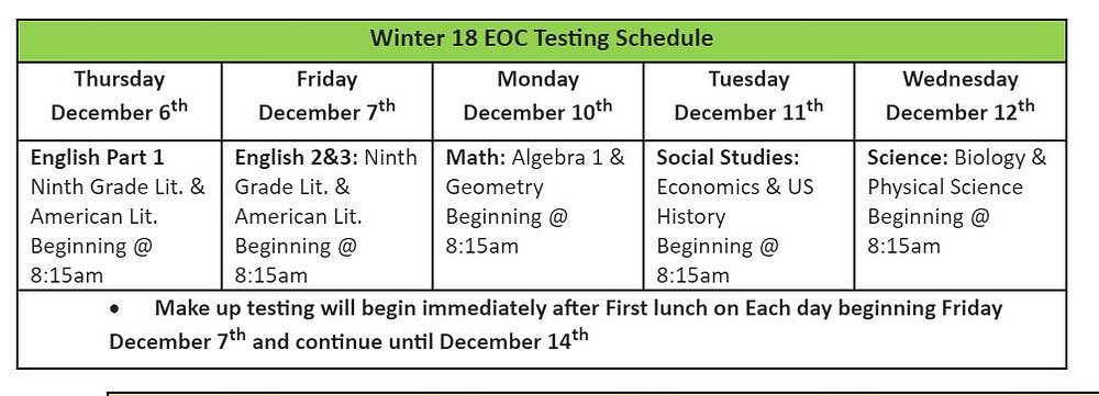Winter 18 EOC Testing Schedule