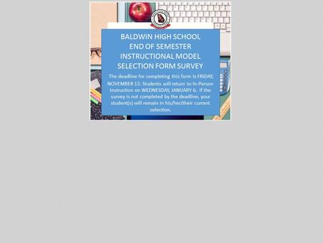 BHS INSTRUCTIONAL MODEL SELECTION SURVEY