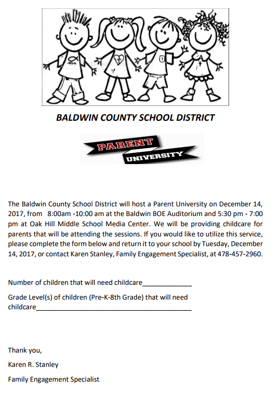 Parent University Childcare form