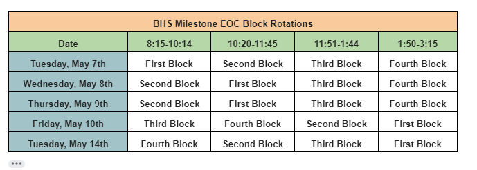 End of Course Test Schedule Change