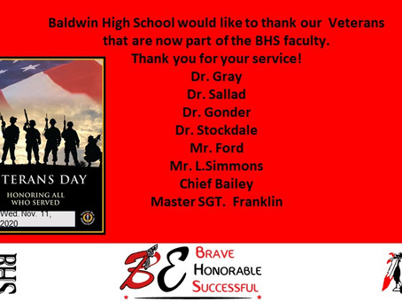 BHS WOULD LIKE TO THANK OUR VETERANS