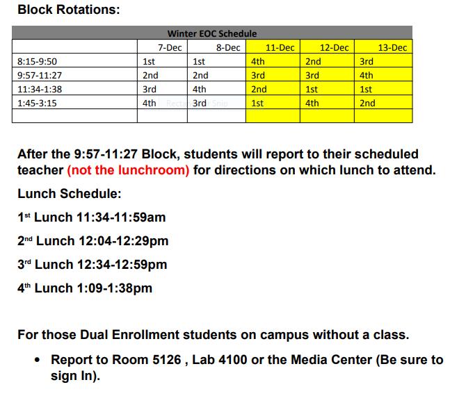 BHS Schedule Chage