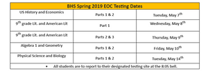 End of Course Test Dates