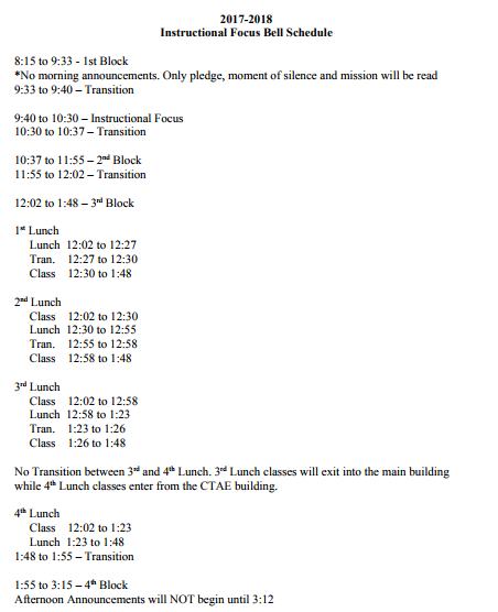 BHS Instructional Focus Bell Schedule