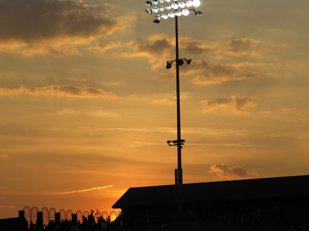 Shot of the sunset during the football game