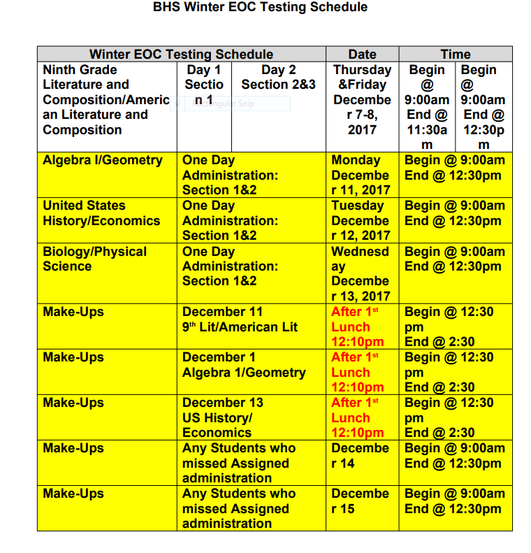 BHS Testing Schedule Winter 2017