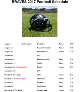 Baldwin Braves Football Schedule
