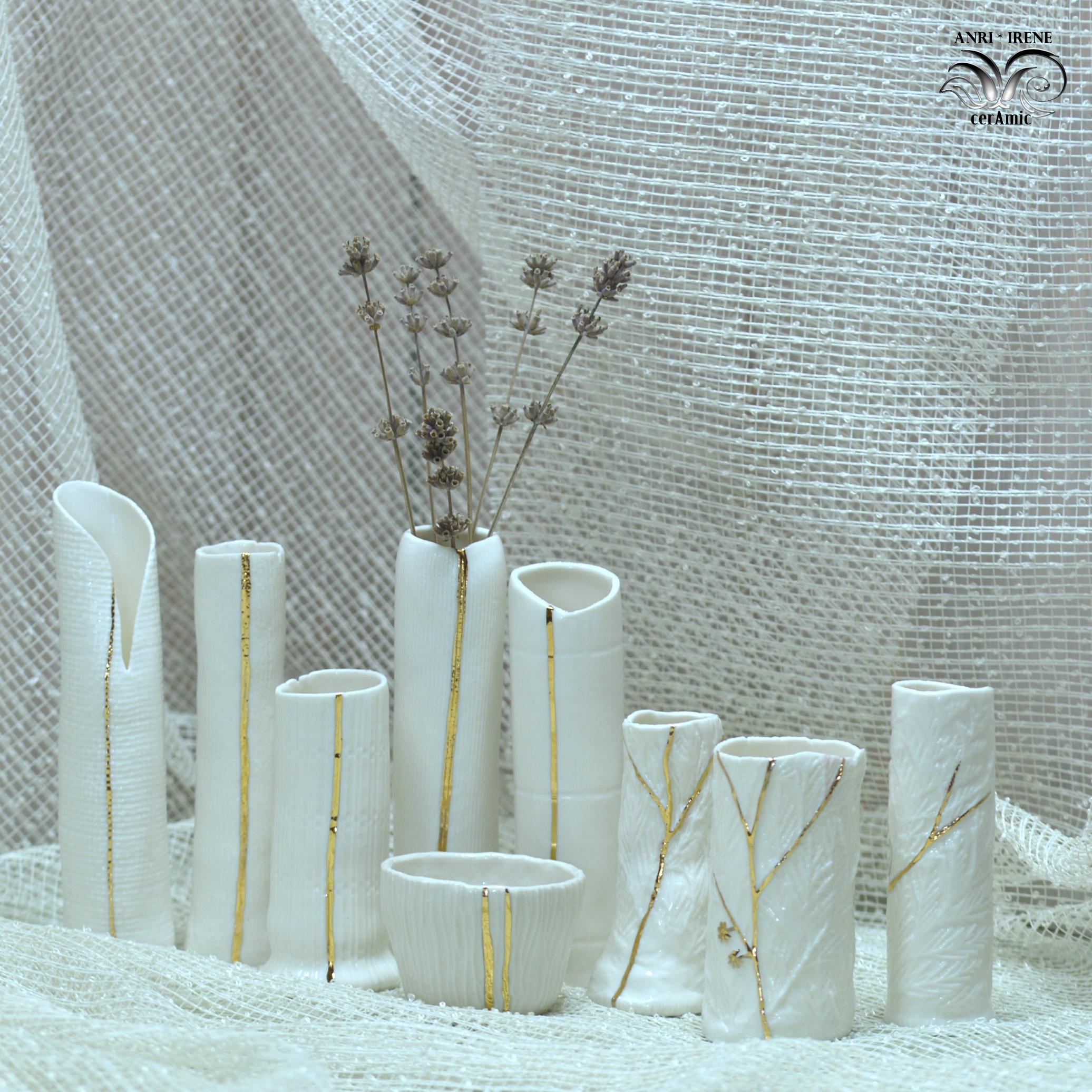 Porcelain hand built vase