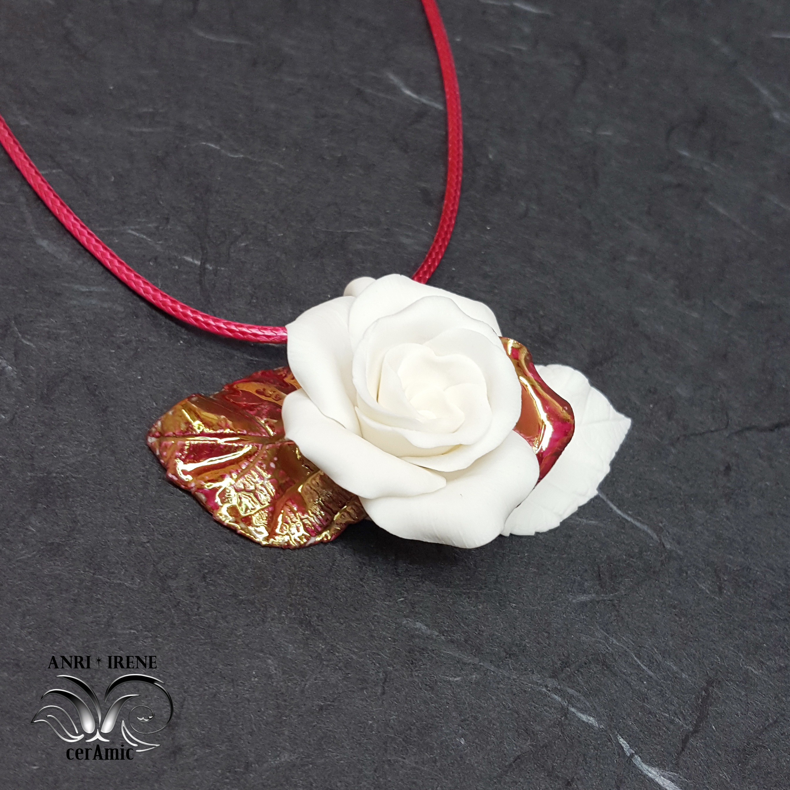 ceramic jewelry rose pendant