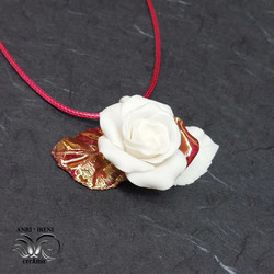 ceramic jewelry rose pendant