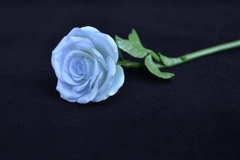 Porcelain blue rose