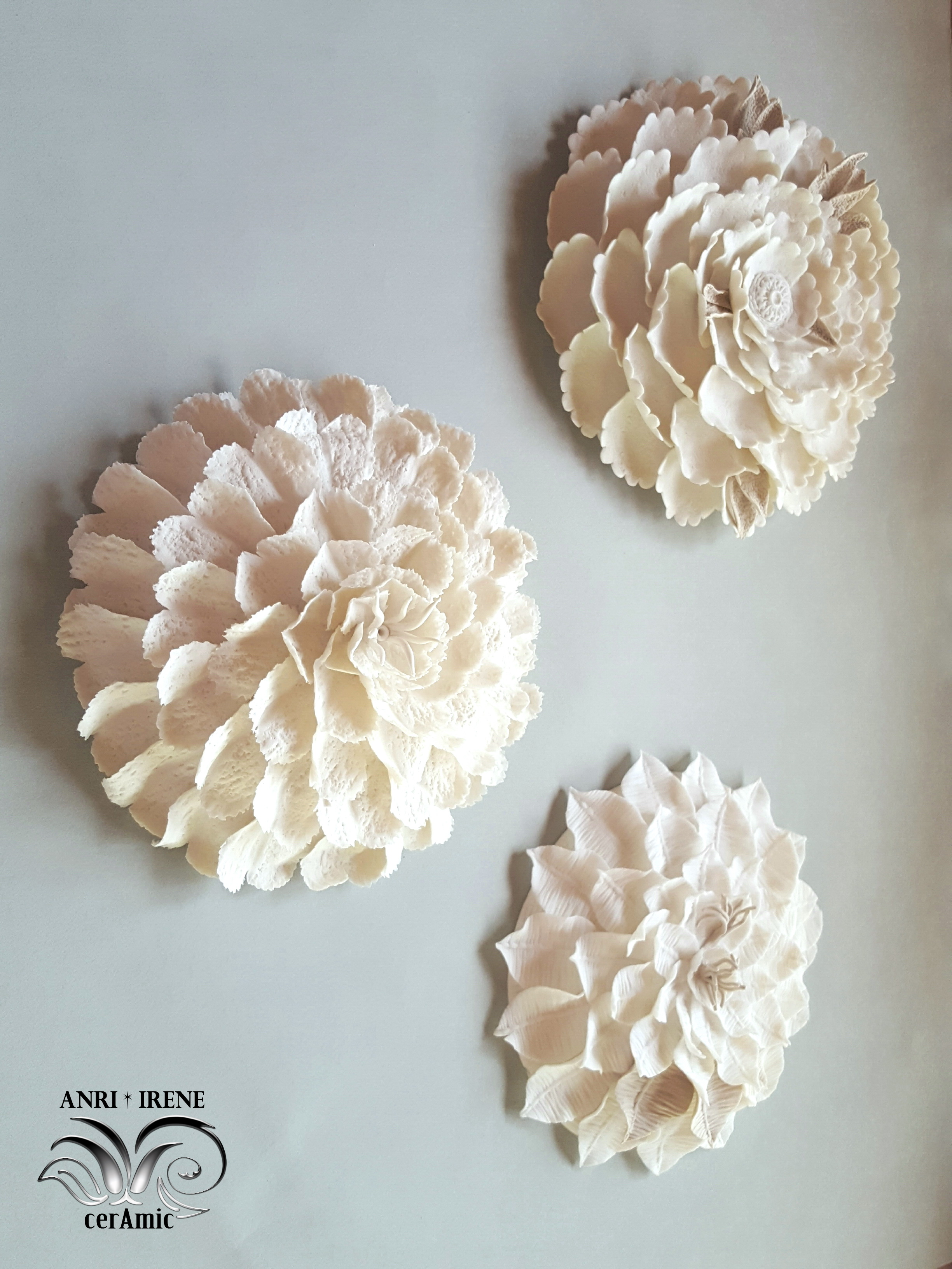 ceramic floral wall decor