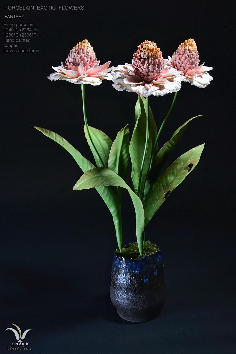 """Porcelain exotic flowers """"Pompon"""""""