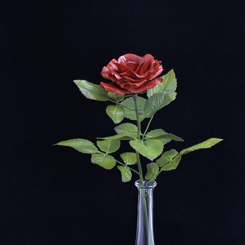 Porcelain red rose, ceramic