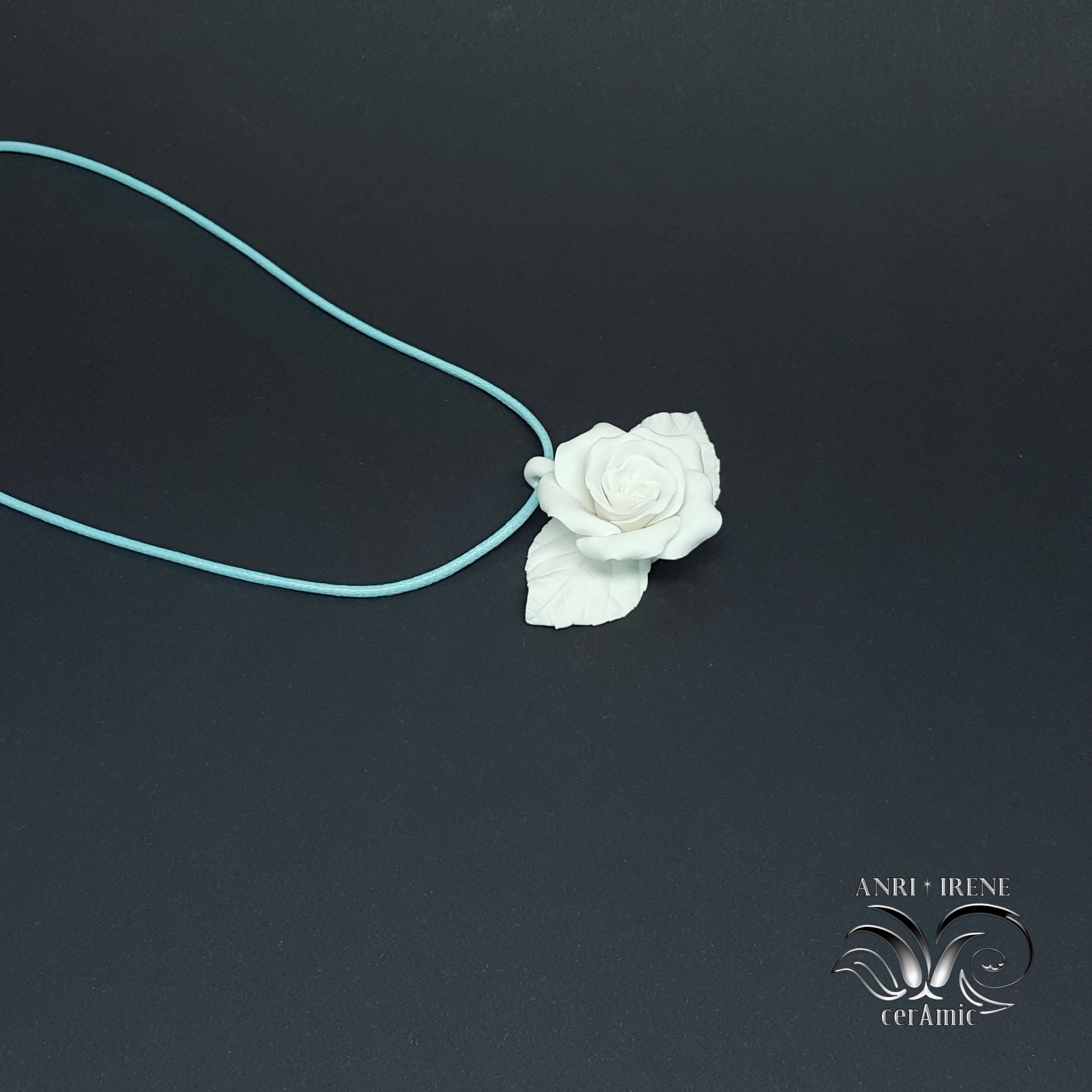 porcelain jewellery pendant rose