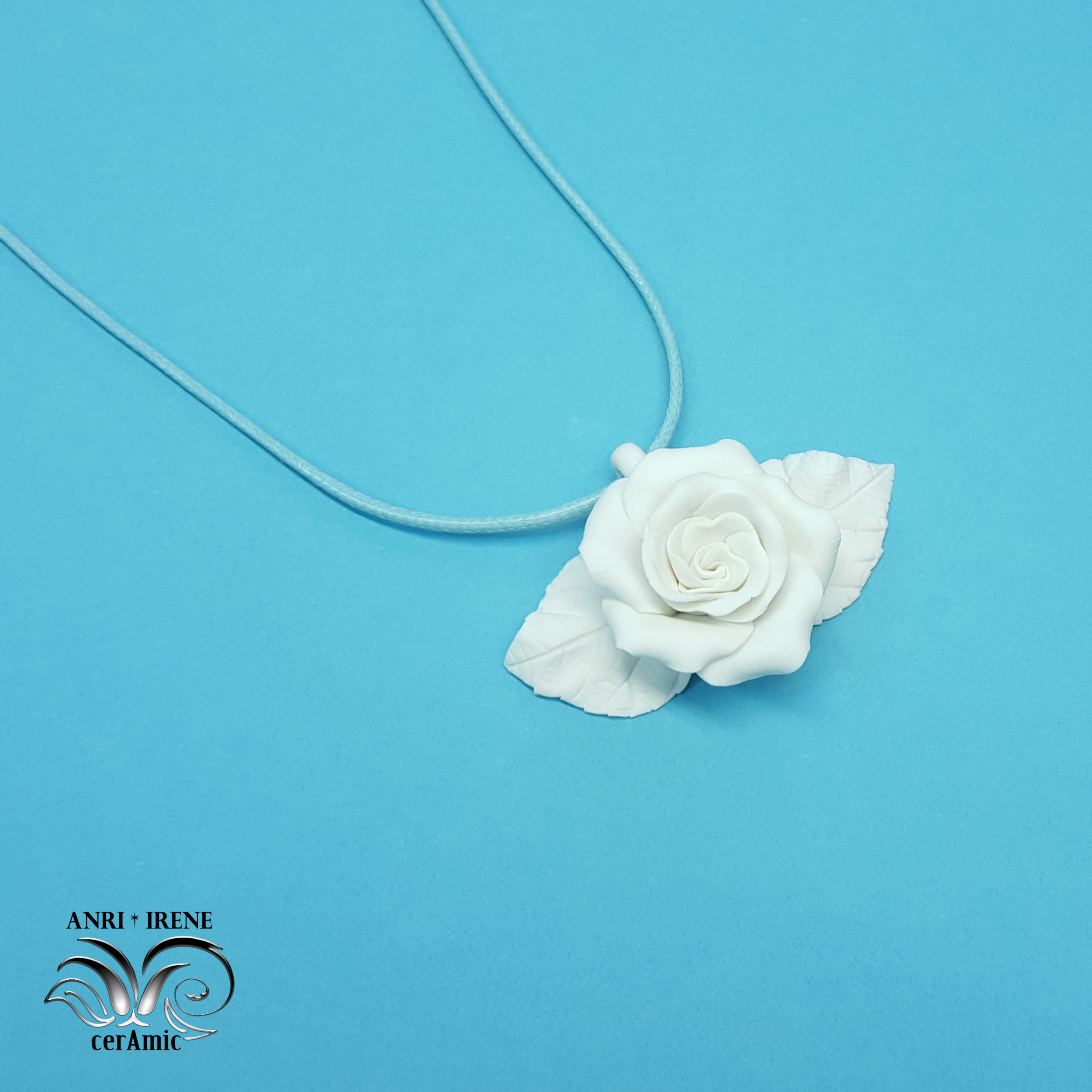 ceramic rose necklace