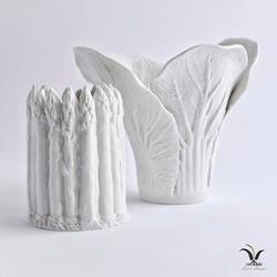 Porcelain lettuce and asparagus vase