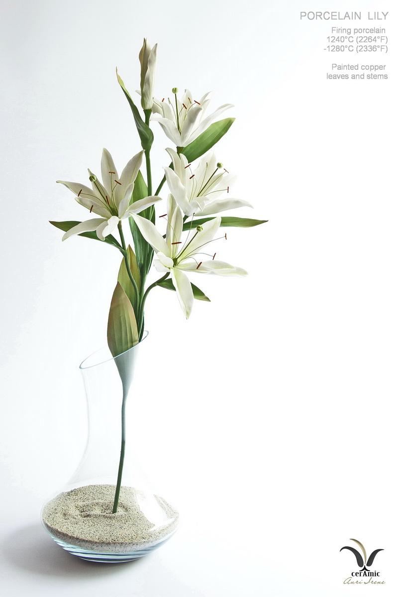 Porcelain lilies, ceramic flowers
