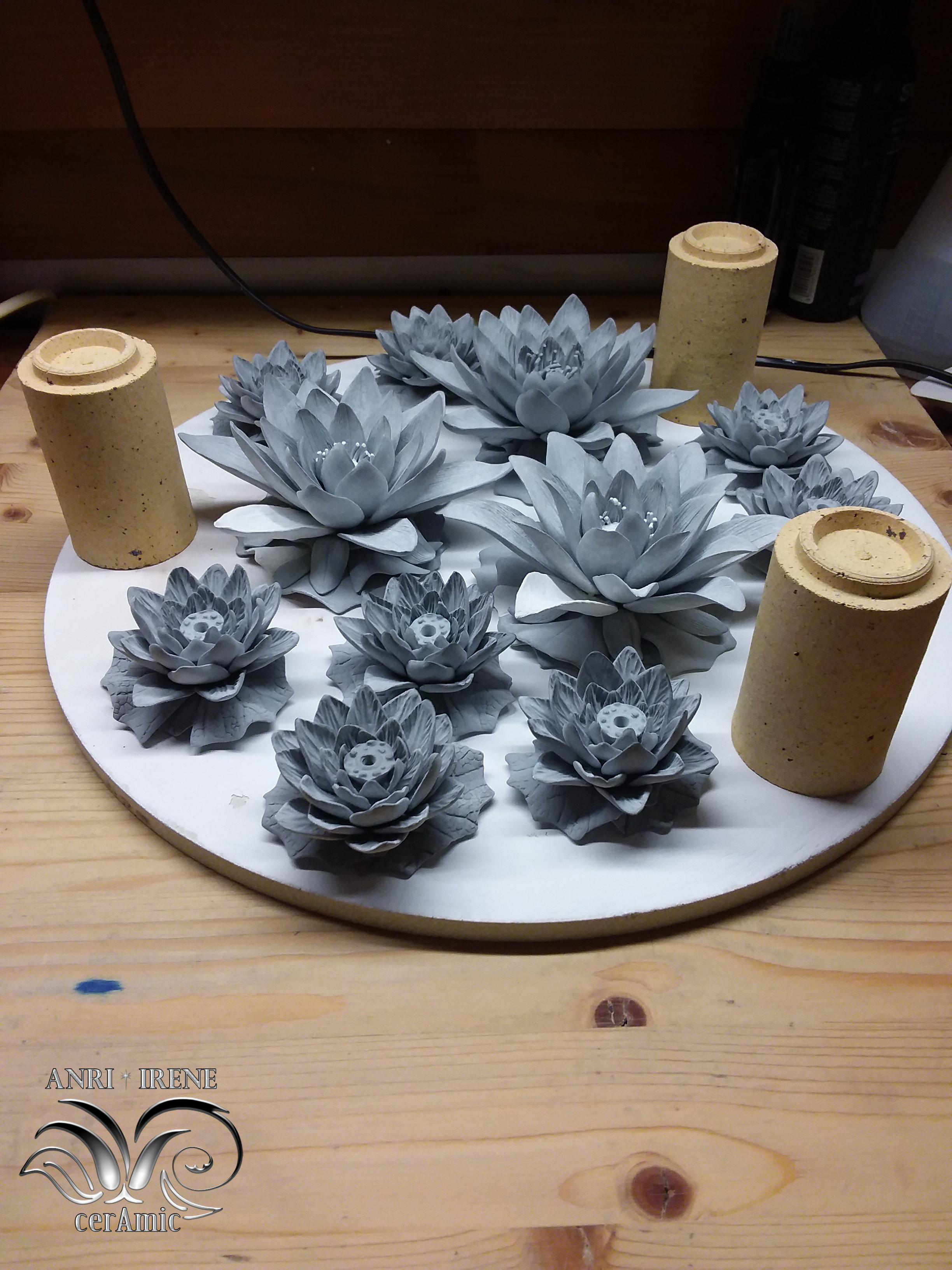 Ceramic greenware lotuses