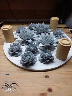 Ceramic greenware lotuses