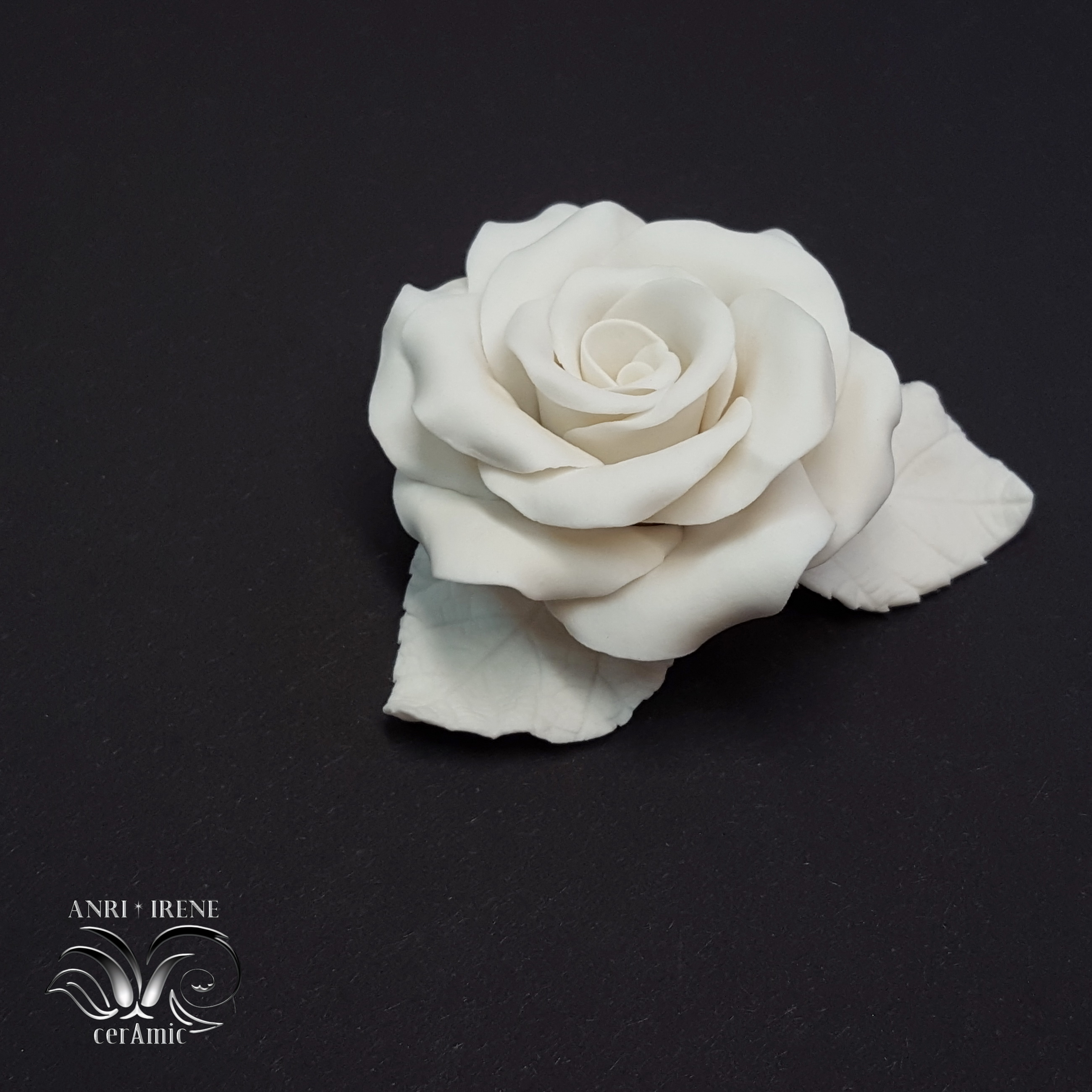 White ceramic rose