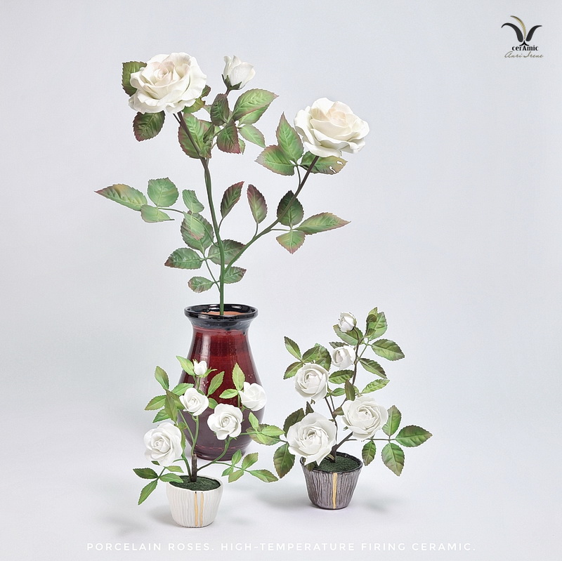 Ceramic roses, porcelain