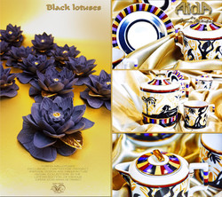 Porcelain black lotuses Aida