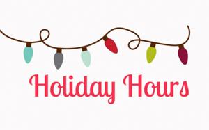 Holiday Hours and Christmas Lights