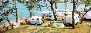 caravans by the beach in korea