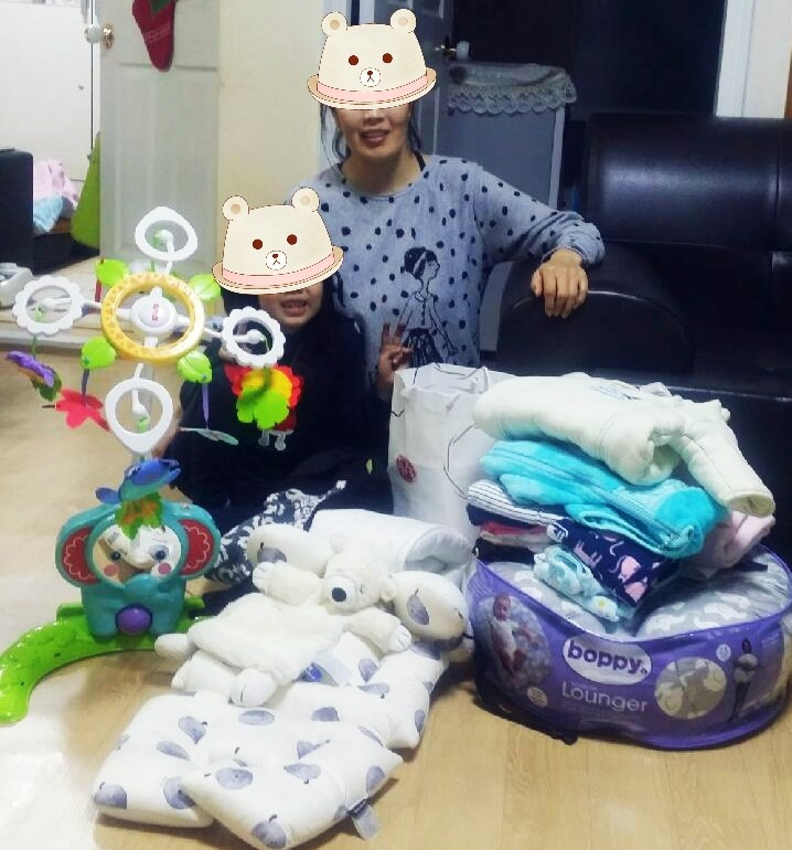baby item donations with family in korea